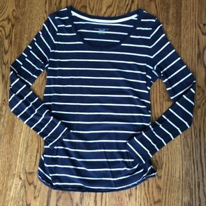Liz Lange Maternity Navy White Stripe Long Sleeve